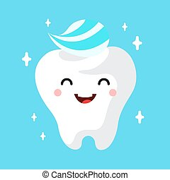 Healthy cute cartoon tooth character smiling happily tooth ...