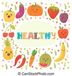 Healthy. Cute happy fruits and vegetables in vector. Healthy food concept card
