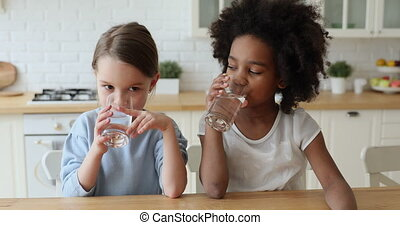 Healthy cute mixed race kids girls drinking water at home. ...