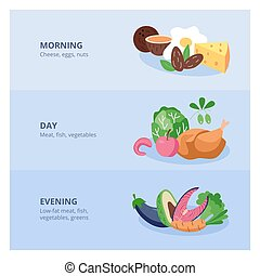 Healthy daily menu banners set with food icons, flat vector illustration.