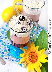 Healthy dessert with blackberries