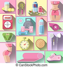 Healthy diet flat style illustration.