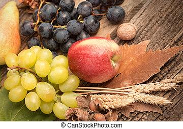 Healthy diet (food) - Fresh organic seasonal autumn fruit