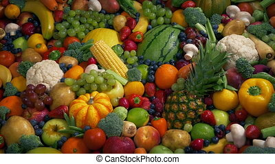 Healthy Diet Fruit And Vegetable Concept - Fruits and...