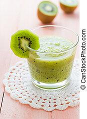 Healthy diet fruit juice kiwi wooden table