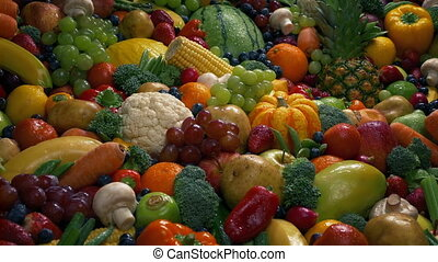 Healthy Diet Fruits And Vegetables Pile - Wet fruit and...