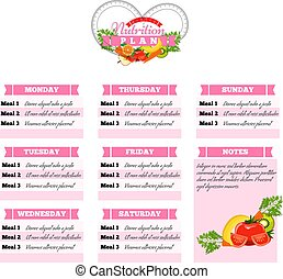 Healthy diet planning. Healthy food and weekly meal plan schedule. Dietic timetable. Vector illustration.