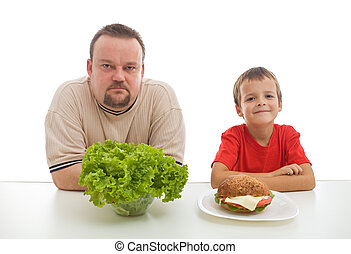 Healthy diet concept - teaching by example might be hard