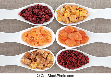 Healthy Dried Fruit - Dried fruit in white porcelain scoops...