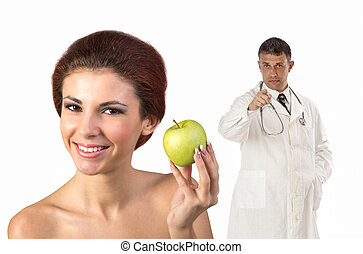 Healthy Eat - Young Beautiful Girl with Green Fresh Apple...