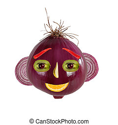 Healthy eatin. Funny face made from onions