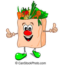 Healthy eating - A cartoon vector shopping bag with...