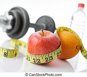 healthy eating and living - eat fruits and exercise for...