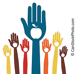 Healthy eating apple hands design. - Large group of hands...