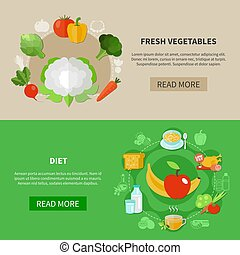 Healthy Eating Banner Set - Two colored healthy eating...