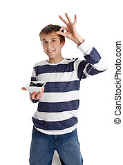 Healthy Eating - boy holding blueberries - A boy holding a...