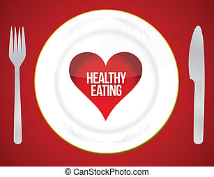Healthy eating concept illustration design over a red...