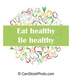Healthy Eating concept banner white bacckground
