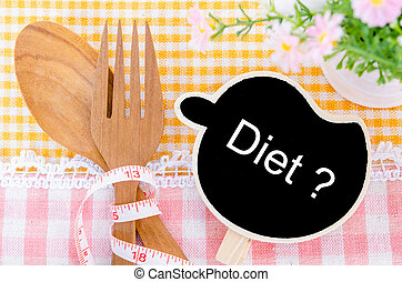Healthy Eating concept. - Diet wood tag and wood spoon, on...