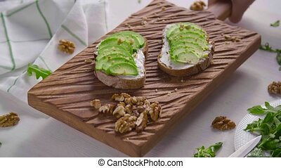 Healthy eating concept. Toast with avocado cream on the ...
