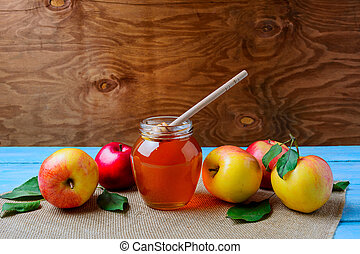 Healthy eating concept with glass honey jar and fresh...