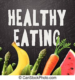 Healthy eating, concept with sample text