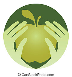 Healthy eating design. - Healthy eating design with hands...