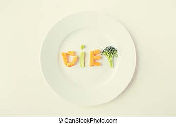 close up of plate with vegetable diet letters