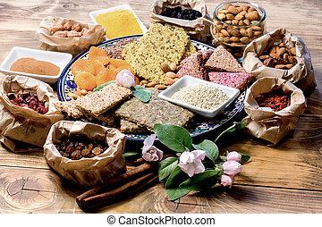 Healthy eating (dieting), vegetarian food, organic food on table