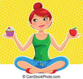 healthy eating - girl choosing between an apple and a...