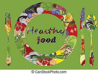 healthy eating - green background with vegetables and fruit...
