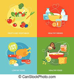 Healthy eating flat set - Healthy eating flat icons set with...