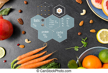different vegetables and fruits on on slate table - healthy ...
