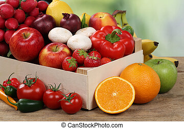 Healthy eating vegetarian fruits and vegetables in a box