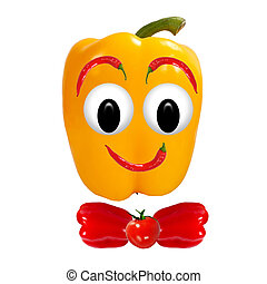 Healthy eating. Funny face made of vegetables and fruits with op