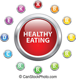 Healthy Eating Concept With Vitamin Buttons