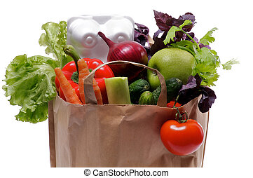 Healthy Eating in Shopping Bag with greens, eggs and fruits isolated on white background