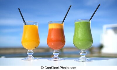 Healthy eating juicing concept - fruit and vegetable juice ...