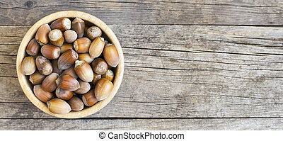 Healthy eating, natural organic snack food, raw hazelnuts - ...