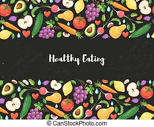 healthy eating poster - Healthy lifestyle poster with fresh...