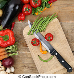 Healthy eating preparing food smiling vegetables face