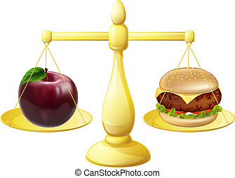 Healthy eating decision concept of an apple and burger on a set of scales