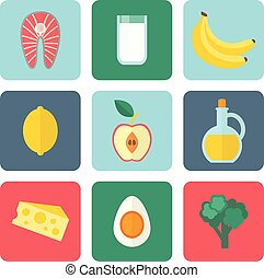 Healthy eating set - Healthy eating vector icons set, flat...