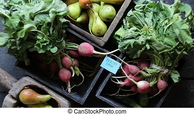 Healthy eating tag and Radish in a wooden box on the table....