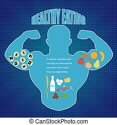 Healthy eating - The contour of the human body with a...