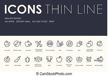 HEALTHY EATING Thin Line Icons