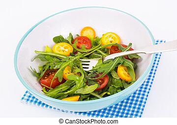 Healthy eating vegan vegetable salad on white background