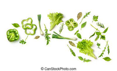 Healthy eating. Vegetables green peppers, onions, arugula,...