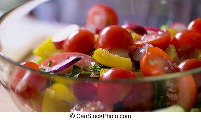 fresh vegetable salad seasoning with sea salt - healthy ...