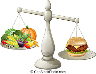 Healthy eating will power concept, healthy food on one side...